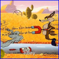 Chuck Jones Signed, Road Runner, Wile E. Coyote Cel Acme Bird Seed Set of 2 Cells