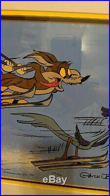 Chuck Jones Signed Skiing- Roadrunner & Wile E Coyote Limited Ed. Cel Rare