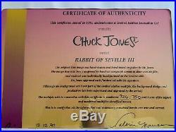 Chuck Jones Signed Warner Bros. Rabbit of Seville III Bugs Bunny & Elmer Fudd