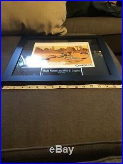 Chuck Jones Signed Wilie E. Coyote/Road Runner Framed Sericell, 16x16 Framed
