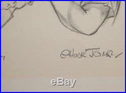 Chuck Jones signed 6 Life Art Drawings Collectables + 6 PSA certs Ltd. FREE S/H
