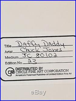 DAFFY DADDY DAFFY DUCK CHUCK JONES SIGNED FRAMED VERRY RARE WB cel LOONEY TUNES
