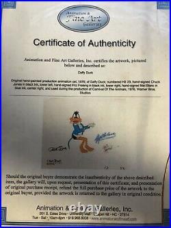 Daffy Duck Original Production Cel, Signed Chuck Jones, Mel Blanc, Friz Freeleng