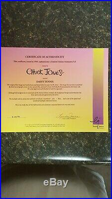 Daffy Duck Playing Tennis Chuck Jones signed animation cel with COA