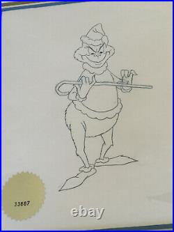 Dr Seuss'How the Grinch Stole Christmas' Drawing Signed Chuck Jones COA Framed