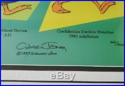 FRAMED & Matted Chuck Jones SIGNED'Evolution of Daffy' Limited Edition Sericel