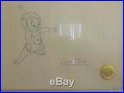 Framed Chuck Jones signed cel and drawing Porky Pig one of a kind
