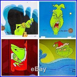 Grinch Stole Christmas Animation Cel Original 4 Set Signed Chuck Jones Vintage
