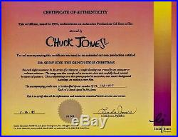 Grinch Stole Christmas Cel Original Animation Production Signed Chuck Jones Cell