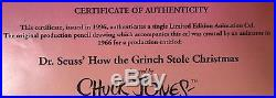 HOW THE GRINCH STOLE CHRISTMAS ORIGINAL DRAWING & CEL SIGNED by CHUCK JONES