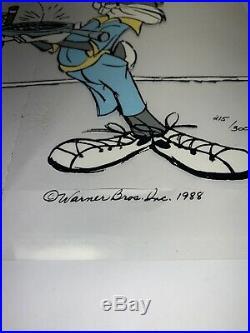 Limited Edition Bugs Bunny Animated Film Art Signed Chuck Jones 1988 Coa Stamp