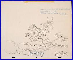 Original Warner Bros Wile E Coyote & Road Runner Signed Chuck Jones Sketch Art