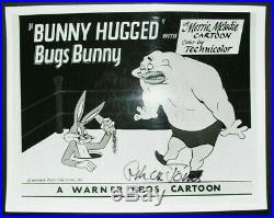 Photo signed by CHUCK JONES, with COA, 8x10, Bugs Bunny, Warner Bros