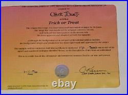 RARE Bugs Bunny Daffy Duck Trick or Treat LE Signed Chuck Jones HALLOWEEN Cell