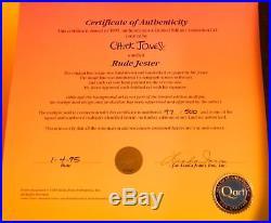 RUDE JESTER Hand Signed Chuck Jones. Ltd. Ed. Cel Daffy Duck Looney Tunes