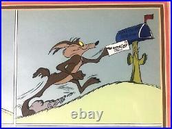 Rare signed Chuck Jones Looney Tunes Wile E Coyote Acme Snow Machine cel
