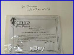 Road Runner / Wile E. Coyote 2 Cel Animation Signed Chuck Jones & Certificate