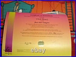SIGNED CHUCK JONES Bugs Bunny Road Runner Wile E Coyote Warner Brothers Cel