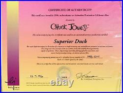 SUPERIOR DUCK 1996 Original Production Cel Signed Chuck Jones / PORKY PIG