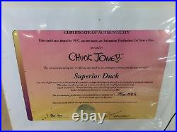 SUPERIOR DUCK 1997 Original Production Cel Signed Chuck Jones Awesome