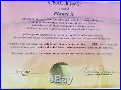 Signed Chuck Jones Hand Painted Animation Cel Planet X Marvin Martian Daffy Duck