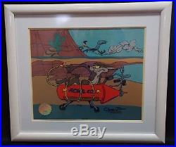 The Roadrunner & Wile E. Coyote Acme Rocket Cel Signed By Chuck Jones