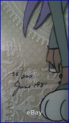 Warner Bros. Bugs Bunny And Bride #1 cel Chuck Jones signed in June 81 mint