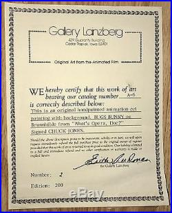 Warner Bros Bugs Bunny Cel Brunnhilde What's Opera Doc Signed Chuck Jones Cell