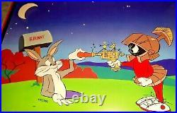 Warner Bros Cel Bugs Bunny Marvin Martian Peace And Carrots Signed Chuck Jones