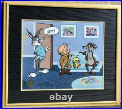 Warner Bros Cel Bugs Bunny Wile E Coyote Tweety Bird Next Signed Chuck Jones Art