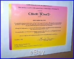 Warner Bros Cel Daffy Duck Marvin K9 Duck Dodgers Trio Signed Chuck Jones Cell