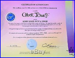 Warner Bros Chuck Jones Signed Daffy Duck Cel Bow & Error Last Cell Number 500