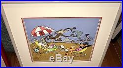 Warner Bros Daffy Bugs Roadrunner Cel Palms Springs Group Signed Chuck Jones