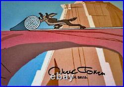 Warner Bros Original Cel Rare Chuck Jones Signed Wile E Coyote Chariots Of Fur