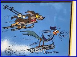 Warner Bros Wile E Coyote Roadrunner Skiing Framed Le Cel Signed Chuck Jones