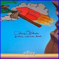 Warner Brothers Cel Signed Chuck Jones Daffy Duck Acme Splatman and Promo Card