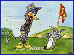 Warner Brothers-Chuck Jones-Limited Edition Canvas-Bugs/Daffy-Hare Hazard-Golf