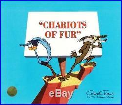 Warner Brothers Chuck Jones Signed RoadRunner Cel Chariots Of Fur Rare Art Cell