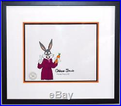 Warner Brothers Production Cel of Bugs Bunny Signed and Inscribed by Chuck Jones