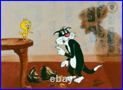 Warner Brothers-Sylvester/Tweety-He Did It! LE Cel Signed By Friz Freleng