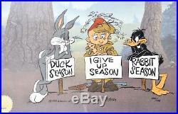 Warner bros bugs bunny daffy duck elmer cel I give up season signed chuck jones