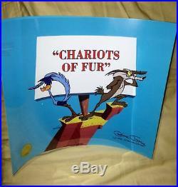 Warner brothers cel road runner chariots of fur signed chuck jones art cell