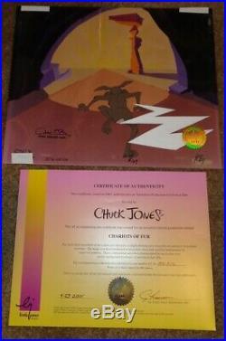 Wile E. Coyote Chuck Jones Signed Original Production Cel Chariots Of Fur